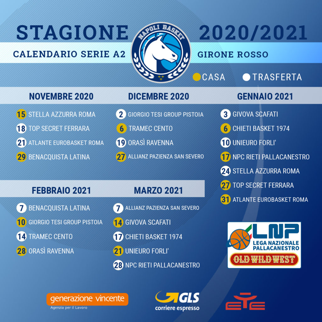 Napoli Basket, il calendario della serie A2 2020/2021   Gol del Napoli